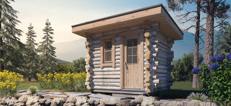 Kelosta rakennettu pihasauna - Huli-Sauna - lammen rannalla kesäisessä maisemassa.
